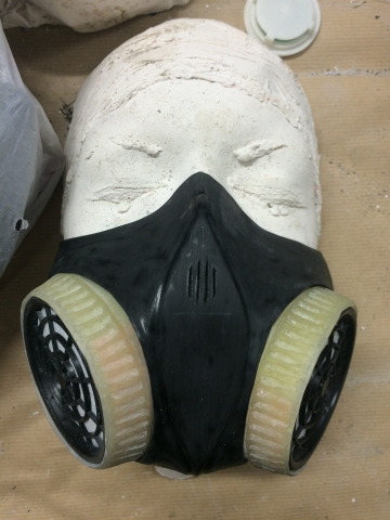 Mask with fitted respirator filters