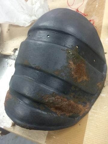 Rust textured metallic effect shoulder armour