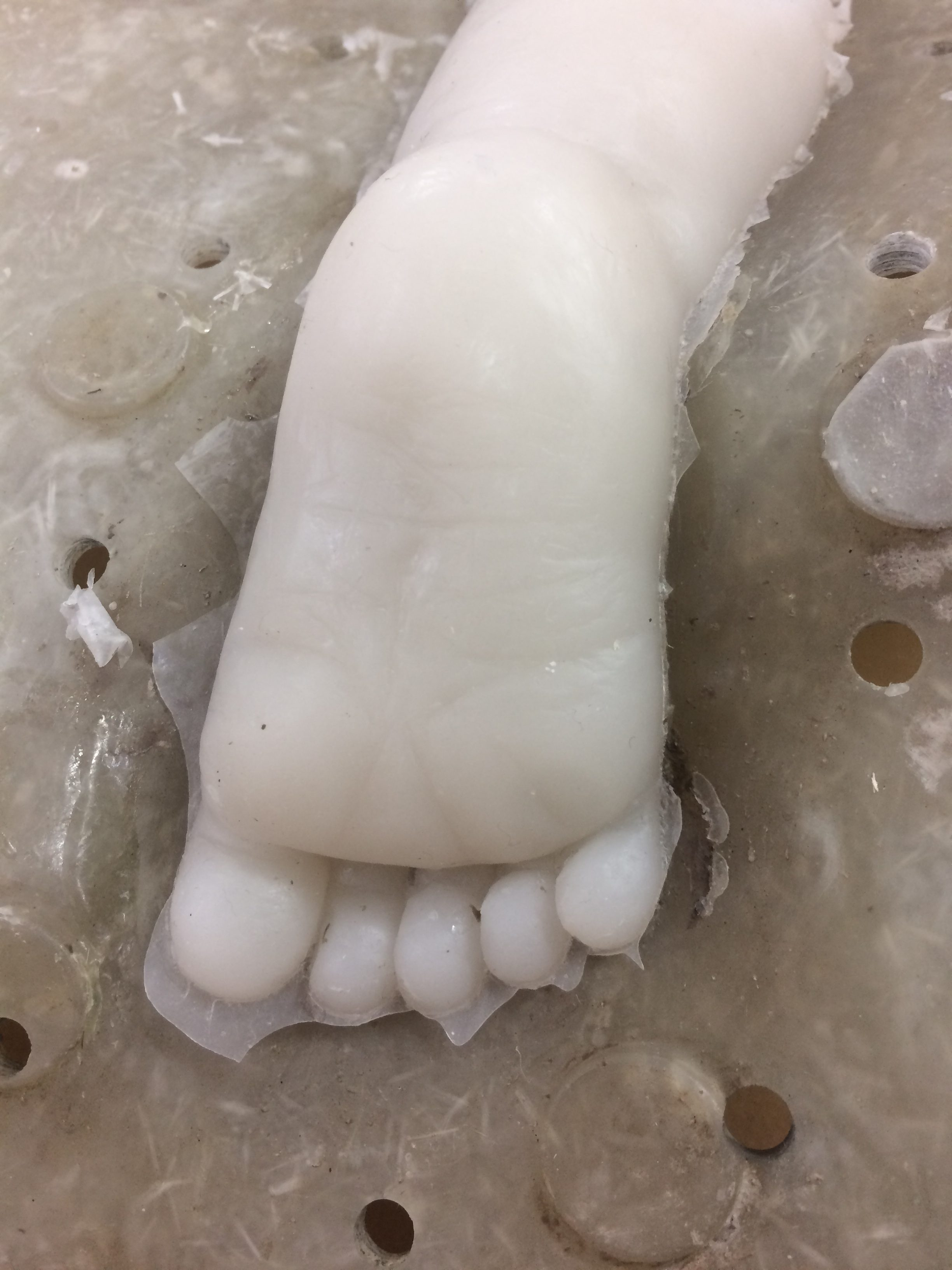 Silicone cast foot close-up detail