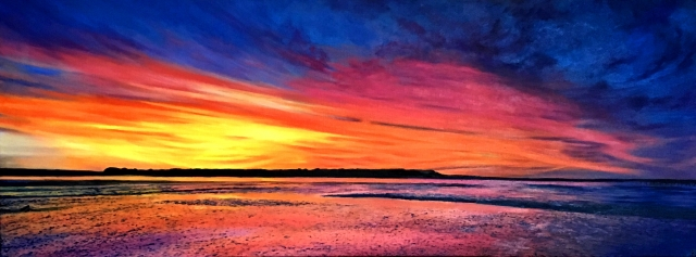 Oil painting of a vivid colourful sunset over Brownsea Island, Poole Harbour, Dorset, UK