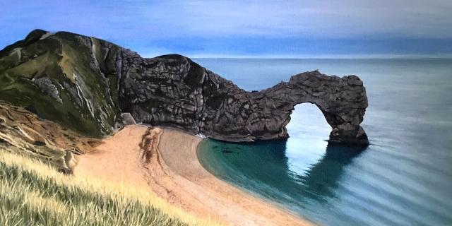 Oil painting of Durdle Door, Lulworth, Dorset, UK