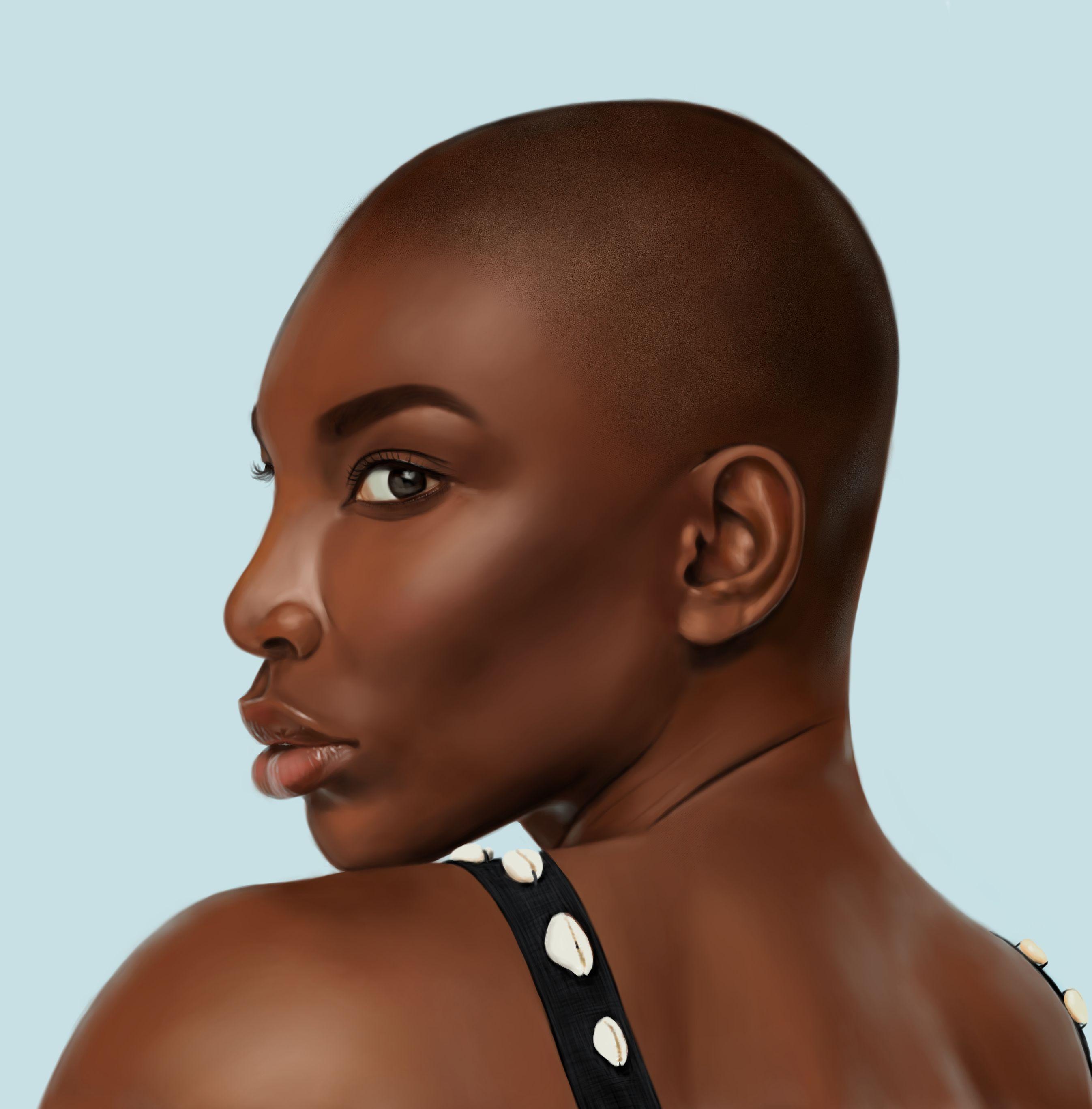 Digital painting artwork of actress Michaela Coel
