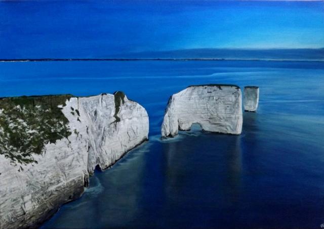 old harry rocks dorset studland acrylic painting commission