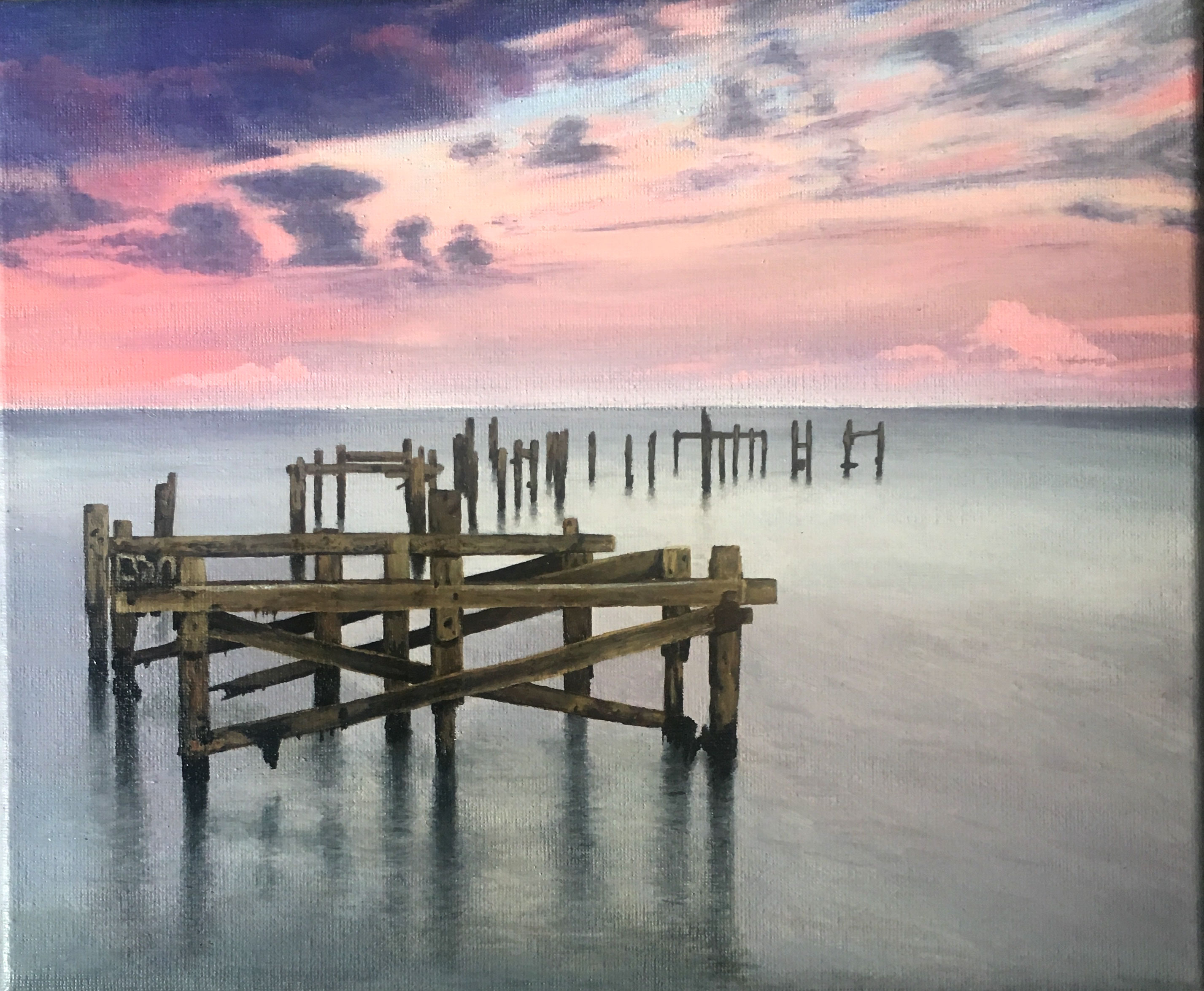 Acrylic painting of wrecked Swanage Old Pier with a colourful sky. Dorset, UK