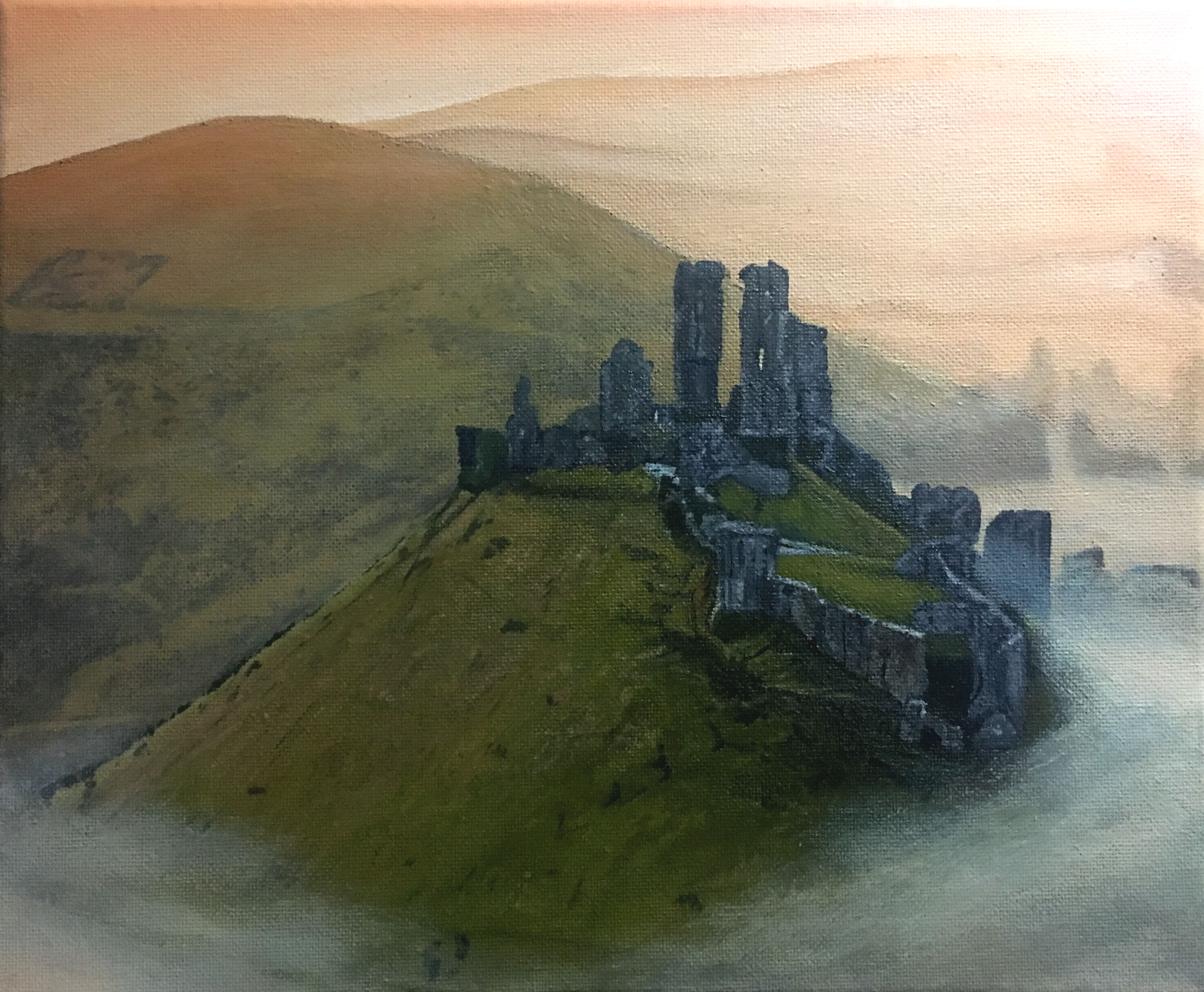 Acrylic painting of Corfe Castle in the early morning mist, Dorset, UK
