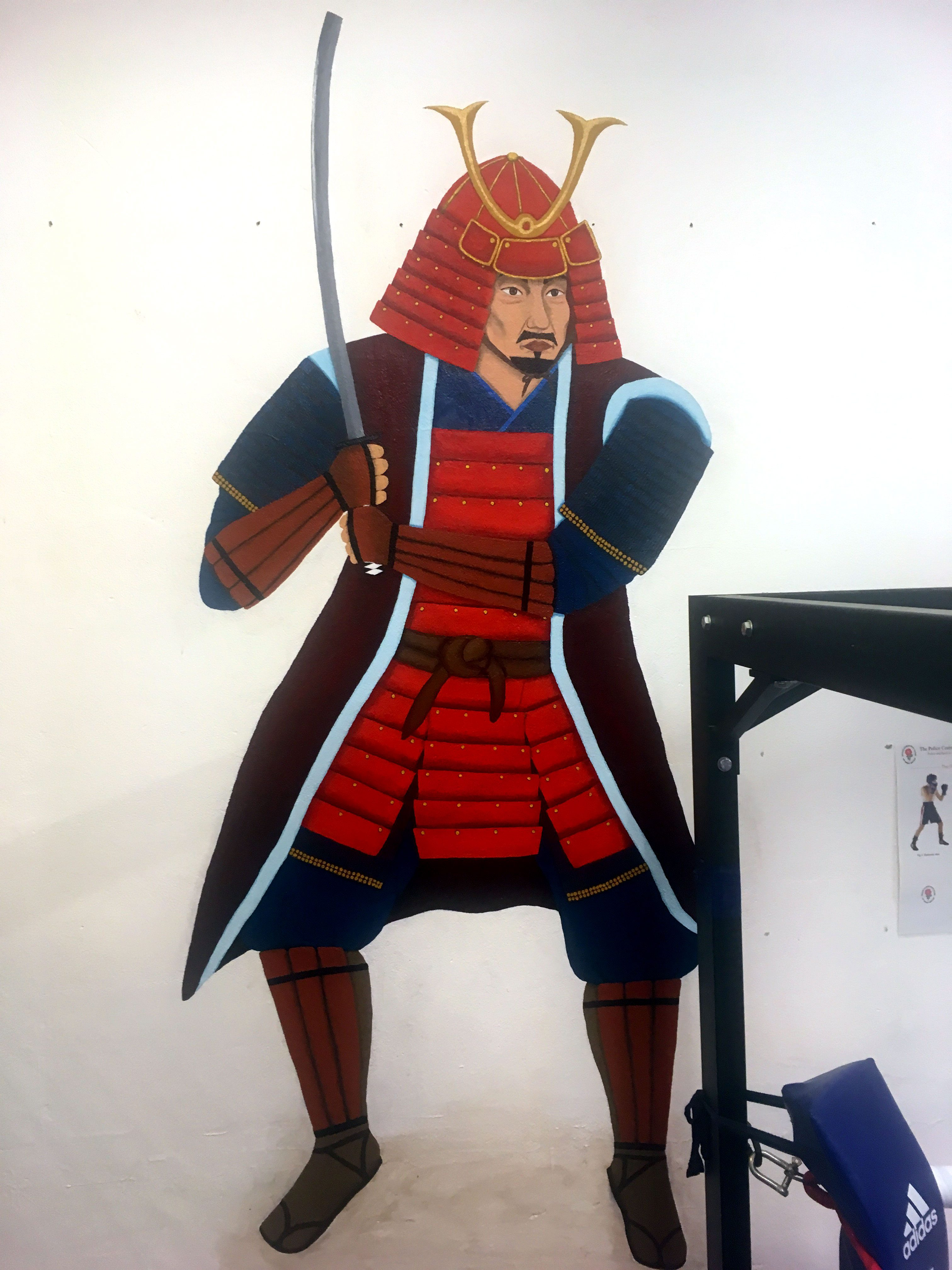 Samurai wall mural for Poole martial arts and fitness gym, Dorset, UK