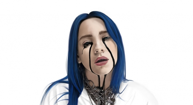 Digital artwork of still from music video - Billie Eilish, When the Party's Over