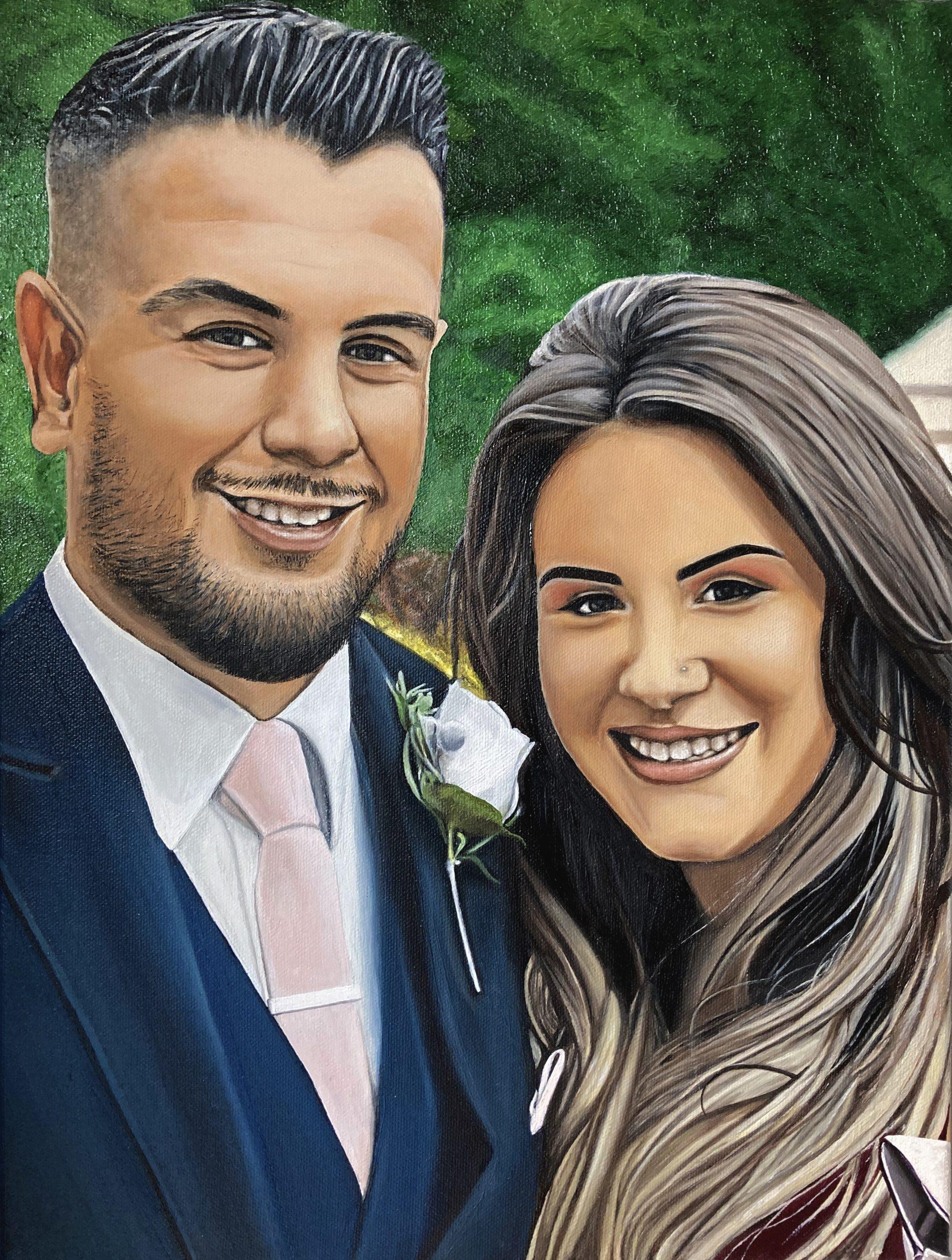 Artwork oil painting portrait couple paint
