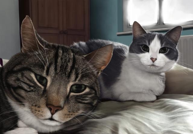 Cats digital artwork painting display tablet portrait