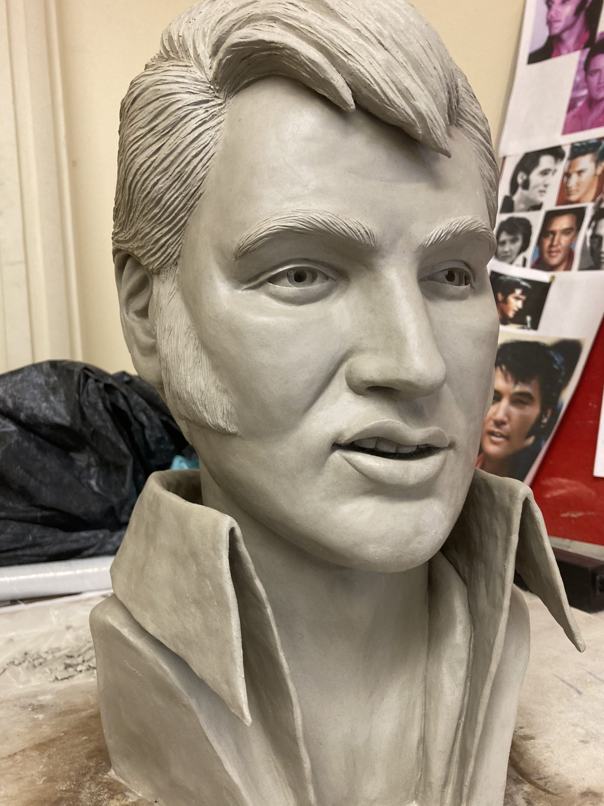 elvis presley clay sculpture bust statue