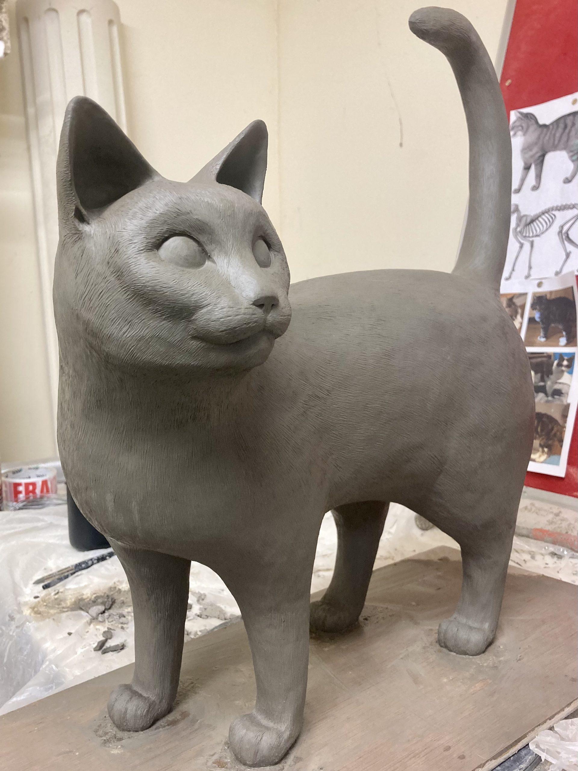 shorthair cat clay sculpture statue